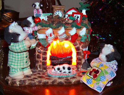 Mary's Moo Moos with fireplace