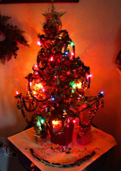 the glow of the foyer tree