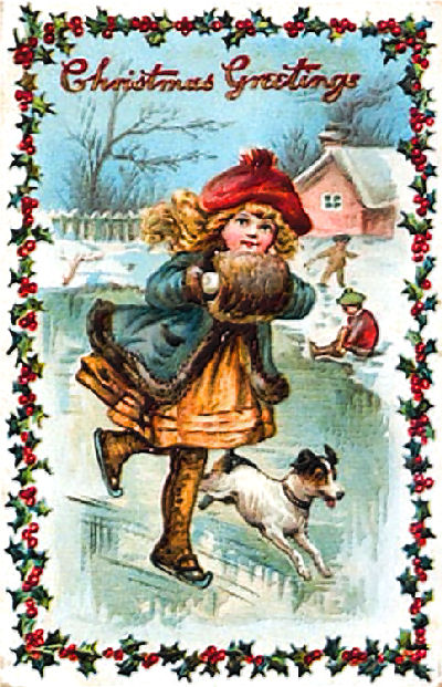 Christmas Greetings: girl skating with dog