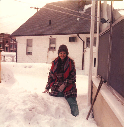 Linda hip deep in snow