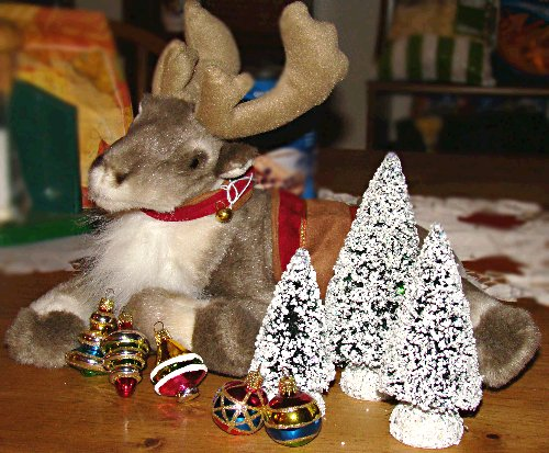 reindeer, bottle brush trees, and ornaments