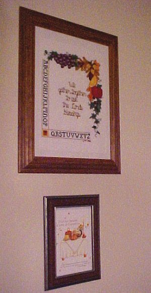 cross stitch and autumn plaque
