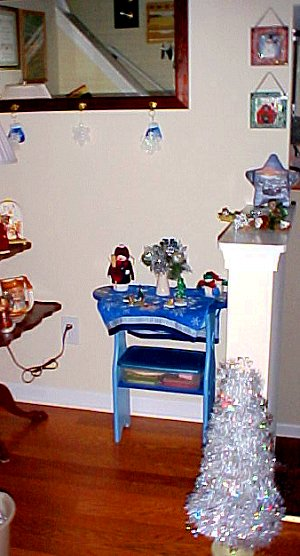 foyer with winter decorations