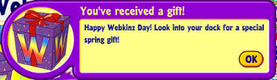 Webkinz Day notification