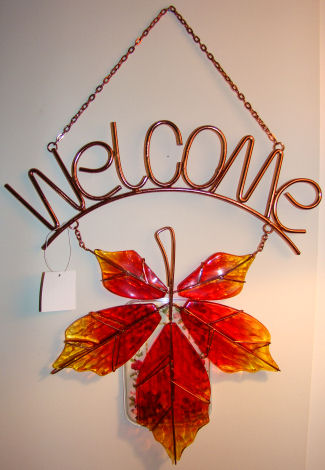 leaf welcome sign