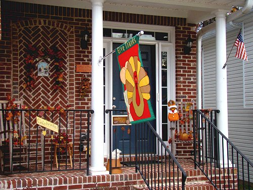 Porch decked out for Thanksgiving