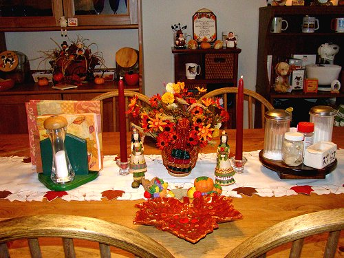 Dining room decked out for Thanksgiving