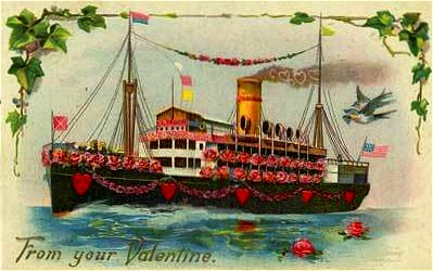 For my valentine vintage postcard of ship