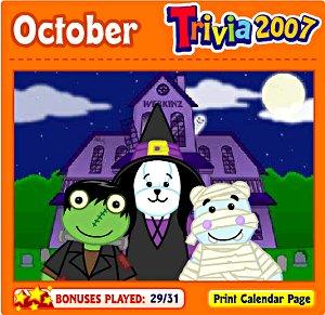 Webkinz Halloween calendar trivia